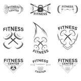 Sprawność fizyczna emblematy, loga projekt Obrazy Royalty Free