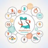 Sprawność fizyczna i ciało dbamy infographics, ikony inkasowe Zdjęcia Stock