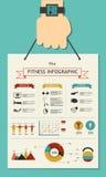 Sprawność fizyczna infographic w mieszkaniu projektującym z ręką Zdjęcia Royalty Free