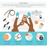 Sprawność fizyczna Infographics Kobiety z sport ikonami i przyrządami Obrazy Stock