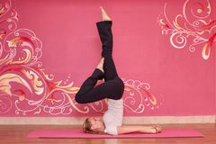 Sprawność fizyczna lub joga grupujemy, kobieta robi ćwiczeniu Obraz Stock