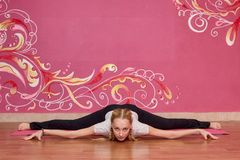 Sprawność fizyczna lub joga grupujemy, kobieta robi ćwiczeniu Fotografia Stock
