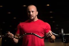 Sprawność fizyczna mięśnia mężczyzna ćwiczenia bicepsy Z Barbell Fotografia Royalty Free