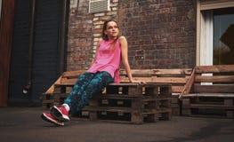 Sprawność fizyczna sporta kobieta w mody sportswear fotografia stock