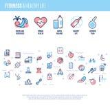 Sprawność fizyczna, wyposażenie, sporty trenuje rzeczy, ciężar dieta, zdrowego życia wektorowy pojęcie w kreskowym stylu Obrazy Royalty Free