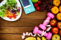 Sprawność fizyczna, zdrowe owoc, Świeża zdrowa sałatka, dieta i aktywnego li, Obrazy Stock