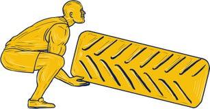 Sprawności fizycznej atlety kucania udźwigu opony rysunek royalty ilustracja