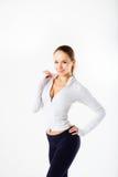 Sprawności fizycznej dziewczyna, pełna długość portreta sporta młoda kobieta z perfect ciałem fotografia stock