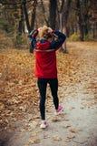 Sprawności fizycznej dziewczyny bieg przy zmierzch jesieni pomarańcze lasem Obraz Stock