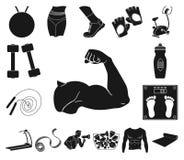 Sprawności fizycznej i atrybutów czarne ikony w ustalonej kolekci dla projekta Sprawności fizycznej wyposażenia symbolu zapasu si royalty ilustracja