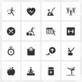 Sprawności fizycznej i zdrowie ikony Obrazy Royalty Free