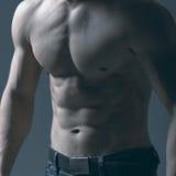 Sprawności fizycznej półpostaci Wzorcowy seans Mężczyzna z mięśniową półpostacią Zdjęcie Royalty Free