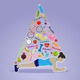 Sprawności fizycznej tło z sportową dziewczyną Fotografia Royalty Free