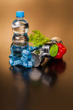 Sprawności fizycznej wyposażenie i zdrowy jedzenie Fotografia Stock