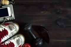 Sprawności fizycznej, zdrowych i aktywnych style życia pojęcie, Odgórnego widoku wizerunek o obrazy stock