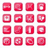 Sprawności fizycznych i sporta ikony Zdjęcia Royalty Free