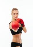 Sprawności fizycznych kobiet zdrowy boksować odizolowywam Obraz Royalty Free