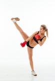 Sprawności fizycznych zdrowe kobiety boksuje w studiu odizolowywającym Fotografia Royalty Free