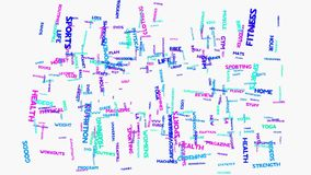 Sprawności fizycznych zdrowie ćwiczenia słowa chmury typografii animacja royalty ilustracja