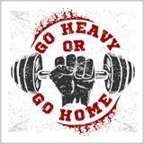 Sprawności fizycznej bodybuilding rocznika etykietka dla flayer Zdjęcie Royalty Free