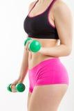 Sprawności fizycznej dziewczyna z zielonymi dumbbells Fotografia Royalty Free