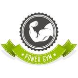 Sprawności fizycznej i bodybuilding emblemat z muscleman Zdjęcia Royalty Free
