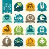 Sprawności fizycznej i wellness ikony set Obraz Stock