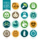 Sprawności fizycznej i wellness ikony set Fotografia Royalty Free