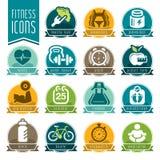 Sprawności fizycznej i wellness ikony set Fotografia Stock