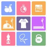 Sprawności fizycznej mieszkania ikony Fotografia Stock