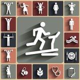 Sprawności fizycznej bezszwowy tło z płaskimi ikonami Sporta wzór Zdjęcia Royalty Free