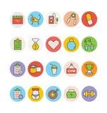 Sprawności fizycznej i zdrowie Barwione Wektorowe ikony 3 Fotografia Stock