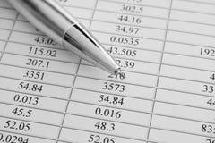 Sprawozdania Finansowe Ballpoint pióro na sprawozdaniach finansowych Zdjęcie Stock