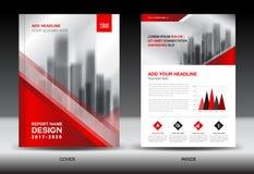 Sprawozdanie roczne broszurki ulotki szablon, czerwieni pokrywy projekt Zdjęcia Royalty Free