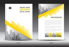 Sprawozdanie roczne broszurki ulotki szablon, kolor żółty pokrywy projekt royalty ilustracja