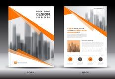 Sprawozdanie roczne broszurki ulotki szablon, pomarańcze pokrywy projekt Obraz Stock