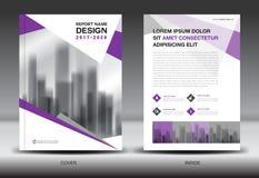 Sprawozdanie roczne broszurki ulotki szablon, purpury pokrywy projekt royalty ilustracja