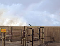 Spray above the outlet of the Merowe hydroelectric power station. Masses of water spilling out the dam of the hydroelectric power station in Merowe, Sudan. This Stock Photo