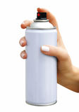 Spray aerosol in female hand Royalty Free Stock Photo