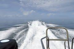 The spray behide speedboat Stock Photos