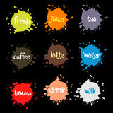 Spray blots, colorful picture stain unusual modern logos set. Beverage vector backgrounds collection stock illustration
