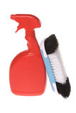 Spray bottle of cleaner with brush Stock Photo