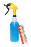 Spray bottle of cleaner with brush Stock Photography