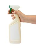 Spray bottle in hand Royalty Free Stock Image