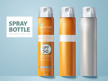 Spray bottle package design. Three spray bottles, two blank and one for sunscreen spray package design use, isolated light blue background 3d illustration Royalty Free Stock Image