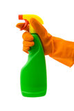 Spray Bottle and Rubber Glove. A hand with rubber glove holding a spray bottle. Vivid and industrial colours. Isolated on white with clipping path excluding drop royalty free stock photo