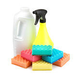 Spray bottle  and a set of sponges Royalty Free Stock Images