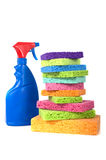 Spray Bottle and Sponges Stock Photos