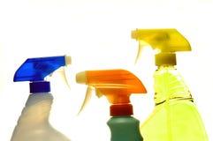 Spray Bottles. Spray Bottle Tops on White background royalty free stock photo
