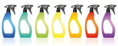 Spray Bottles Blank Colors Rainbow Royalty Free Stock Image